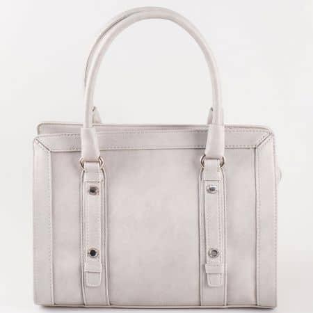 Сива дамска чанта с две къси и дълга дръжка на доказан френски производител cm3091sv