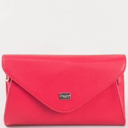 Красива дамска чанта- плик в червен цвят с дръжка за китката и дълга дръжка- френски производител cm3095chv