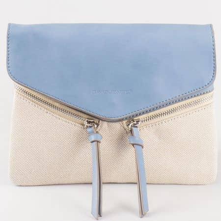 Дамска стилна чанта със свежа лятна визия и дълга дръжка на френския производител David Jones в син и бежов цвят cm3111s