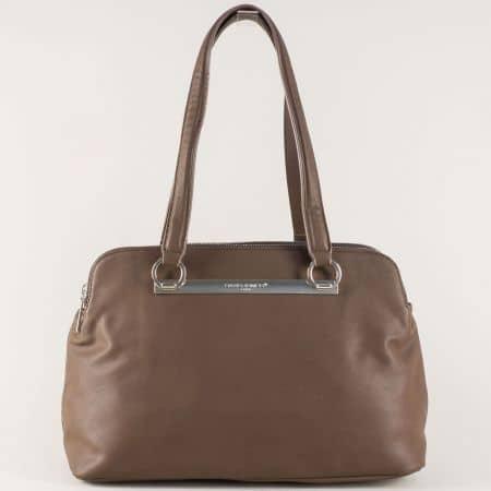 Тъмно кафява дамска чанта с практични отделения  cm3243kk