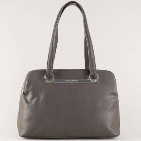 Стилна дамска чанта в сиво с три отделения cm3243sv