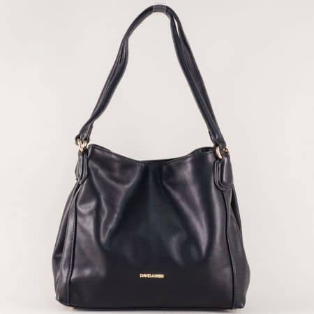 Удобна дамска чанта David Jones с три прегради в черно cm3255ch