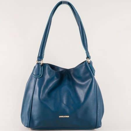 Синя дамска чанта с две дръжки и практични отделения cm3255s
