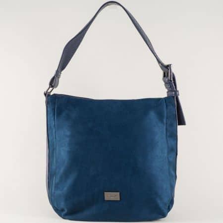 Тъмно синя дамска чанта с удобна дръжка- David Jones cm3267ts