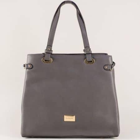 Дамска чанта с две къси и дълга дръжка в сив цвят cm3272sv