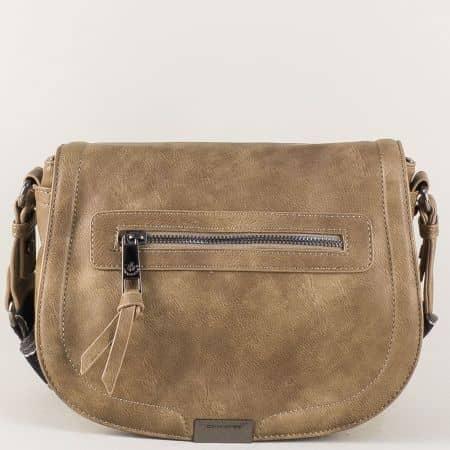 Бежова дамска чанта с регулируема дълга дръжка cm3291bj
