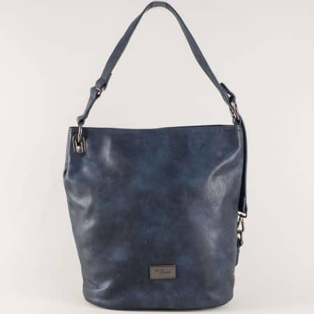 Тъмно синя дамска чанта с една практична преграда cm3292s