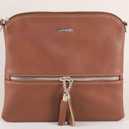 Дамска чанта в кафяво с дълга дръжка- DAVID JONES cm3514k