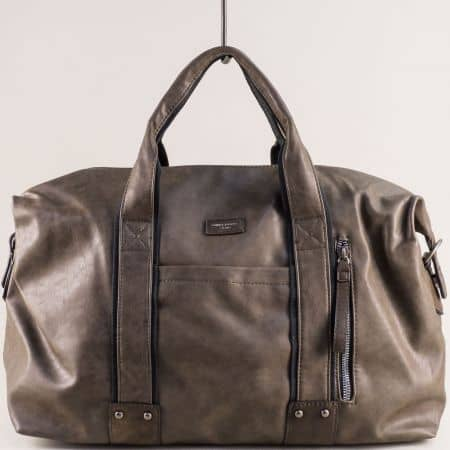 Бежова пътна чанта с три външни джоба- DAVID JONES cm3960bj