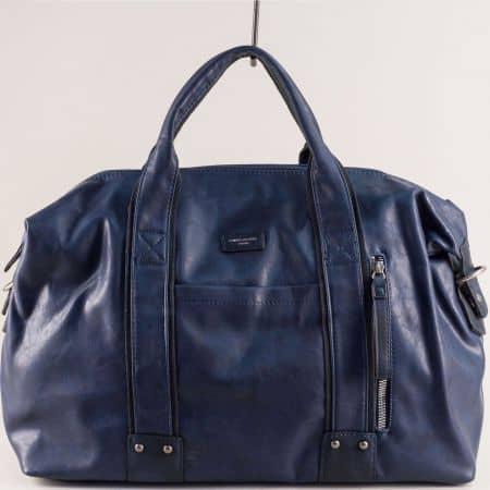 Пътна чанта с три външни джоба в синьо- DAVID JONES cm3960s