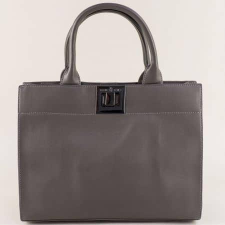 Дамска чанта с три прегради в сив цвят- DAVID JONES cm4001sv