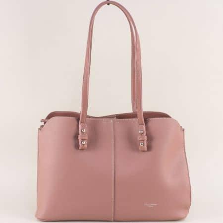 Розова дамска чанта с три прегради- DAVID JONES cm4030rz