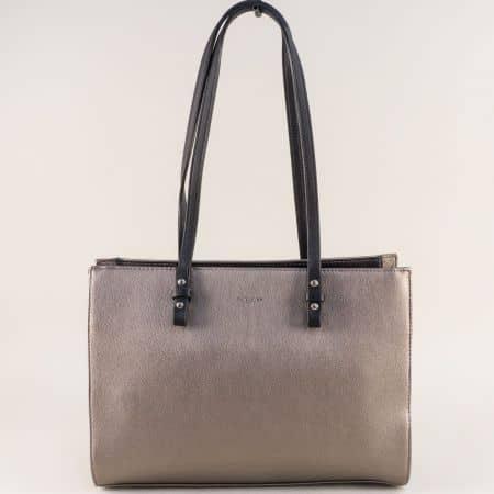 Бронзова дамска чанта- DAVID JONES с две дръжки cm4041brz