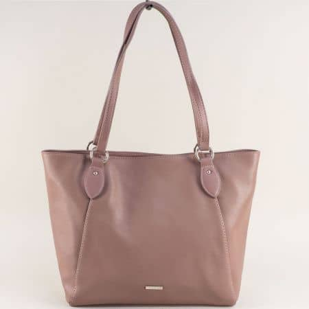 Кафява дамска чанта с две средни дръжки- DAVID JONES cm4063k