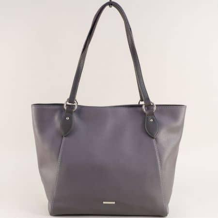 Сива дамска чанта с две средни дръжки- DAVID JONES cm4063sv