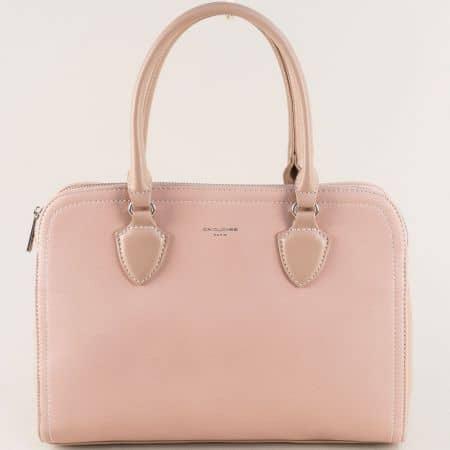 Розова дамска чанта с две къси и дълга дръжка- David Jones cm5006rz