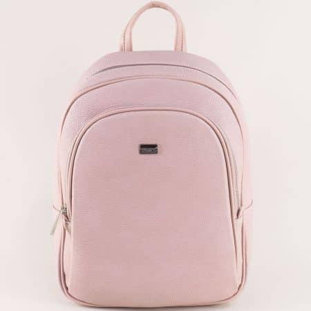 Дамска раница в розов цвят с два джоба- David Jones  cm5025rz