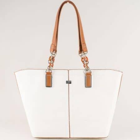 Бяла дамска чанта с две дръжки със средна дължина cm5046b