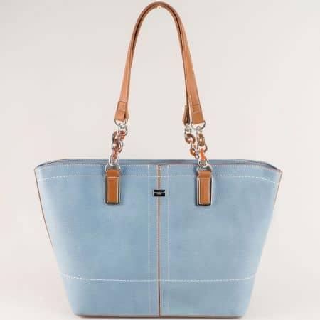 Синя дамска чанта с две фиксирани дръжки- David Jones  cm5046s