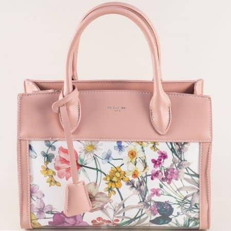 Дамска чанта с две къси и дълга дръжка в розов цвят cm5056rz