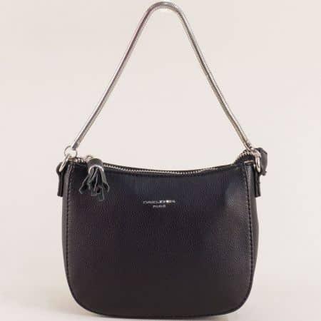 Малка дамска чанта с пискюл- DAVID JONES в черен цвят cm5093ch