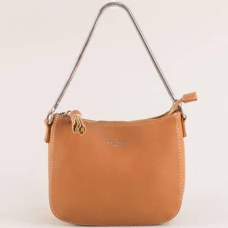 Кафява дамска чанта с къса и дълга дръжка- DAVID JONES cm5093k