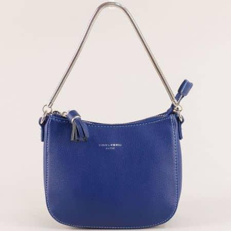 Малка дамска чанта в син цвят с пискюл- DAVID JONES cm5093s