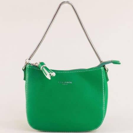 Зелена дамска чанта с къса и дълга дръжка- DAVID JONES cm5093z
