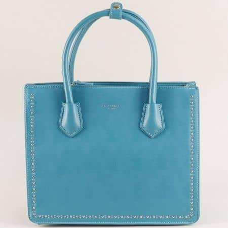 Дамска чанта с твърда структура в син цвят- DAVID JONES cm5143s