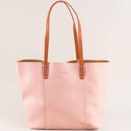 Розова дамска чанта с органайзер- DAVID JONES cm5154rz