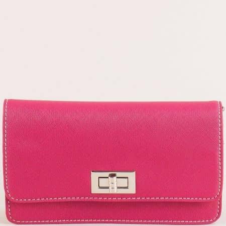 Цикламена дамска чанта с дълга дръжка- DAVID JONES cm5197ck