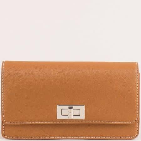 Кафява дамска чанта с дълга дръжка и колан- DAVID JONES cm5197k