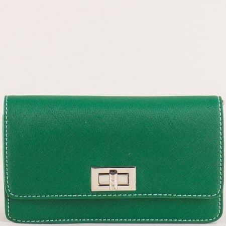 Зелена дамска чанта с дълга дръжка и колан- DAVID JONES cm5197z