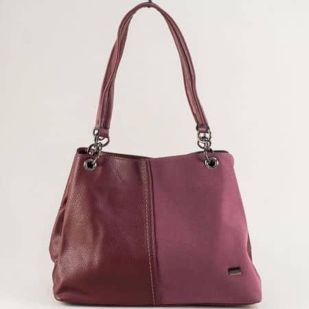Дамска чанта с две средни дръжки- DAVID JONES в бордо cm5301bd