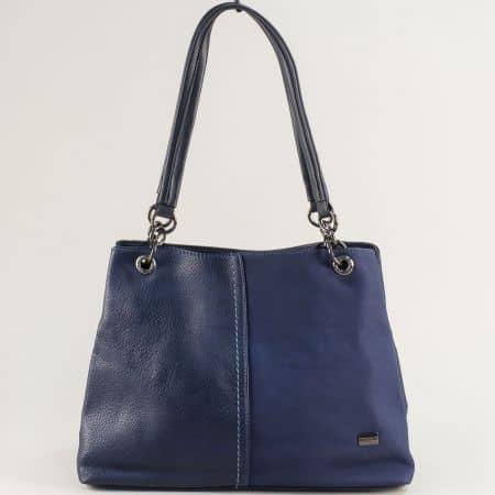 Синя дамска чанта с две средни дръжки- DAVID JONES cm5301s
