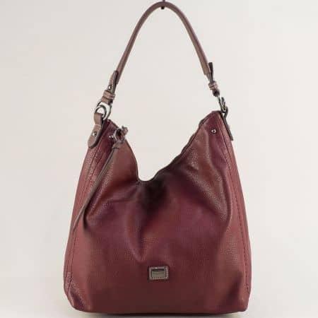 Дамска чанта в цвят бордо, тип торба- DAVID JONES cm5302bd