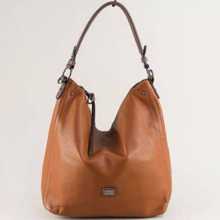 Дамска чанта, тип торба в кафяво- DAVID JONES cm5302k