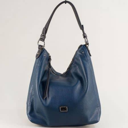 Синя дамска чанта, тип торба с външен джоб с цип cm5302s