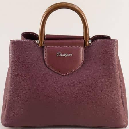 Френска дамска чанта в цвят бордо с три прегради cm5307bd