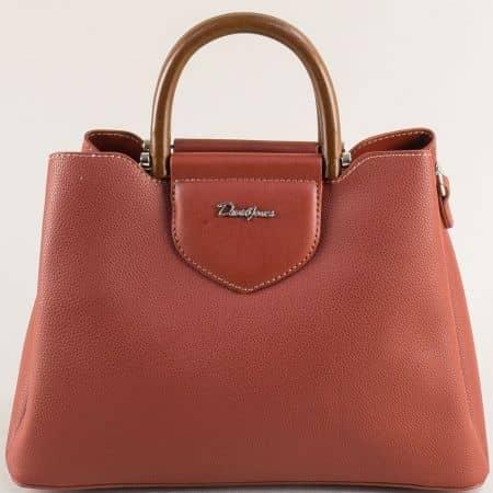 Френска дамска чанта с три прегради в кафяво cm5307k