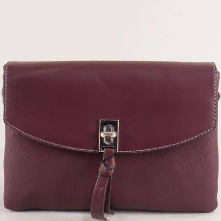 Малка дамска чанта с три прегради- DAVID JONES в бордо cm5308bd