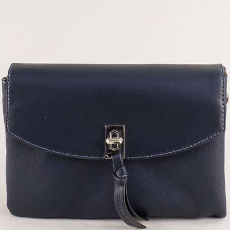 Малка дамска чанта с три прегради- DAVID JONES в синьо cm5308s