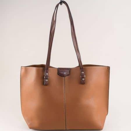 Кафява дамска чанта- DAVID JONES с органайзер cm5311k