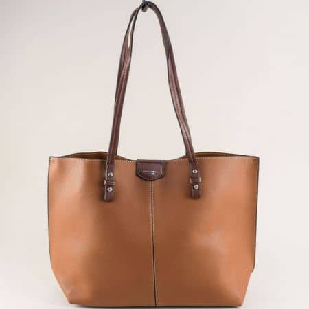 Френска дамска чанта с органайзер в светло кафяво cm5311k