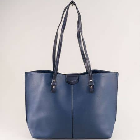 Френска дамска чанта с органайзер в тъмно син цвят cm5311s