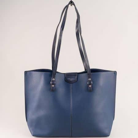 Дамска чанта в син цвят с органайзер- DAVID JONES cm5311s
