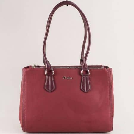 Дамска чанта в цвят бордо с три прегради- DAVID JONES cm5313bd