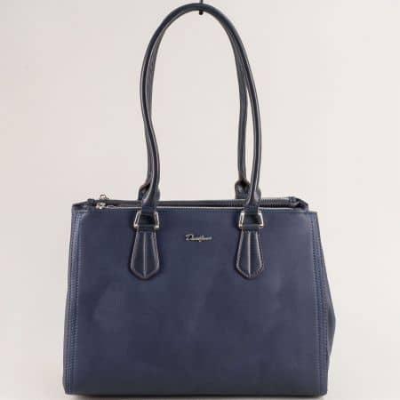 Синя дамска чанта- DAVID JONES с три прегради cm5313s