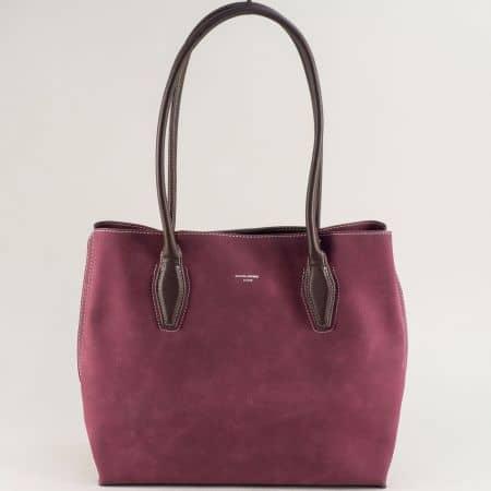 Дамска чанта с твърда структура в цвят бордо cm5327bd