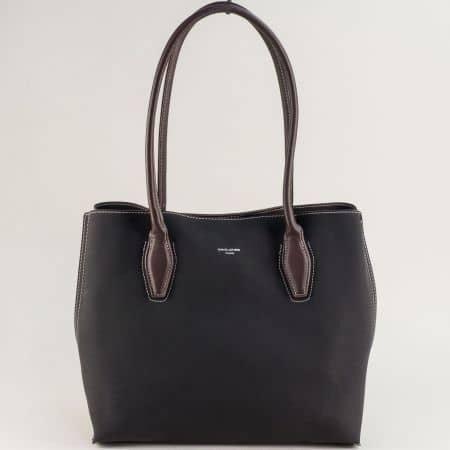 Дамска чанта в черен цвят с три прегради- DAVID JONES  cm5327ch